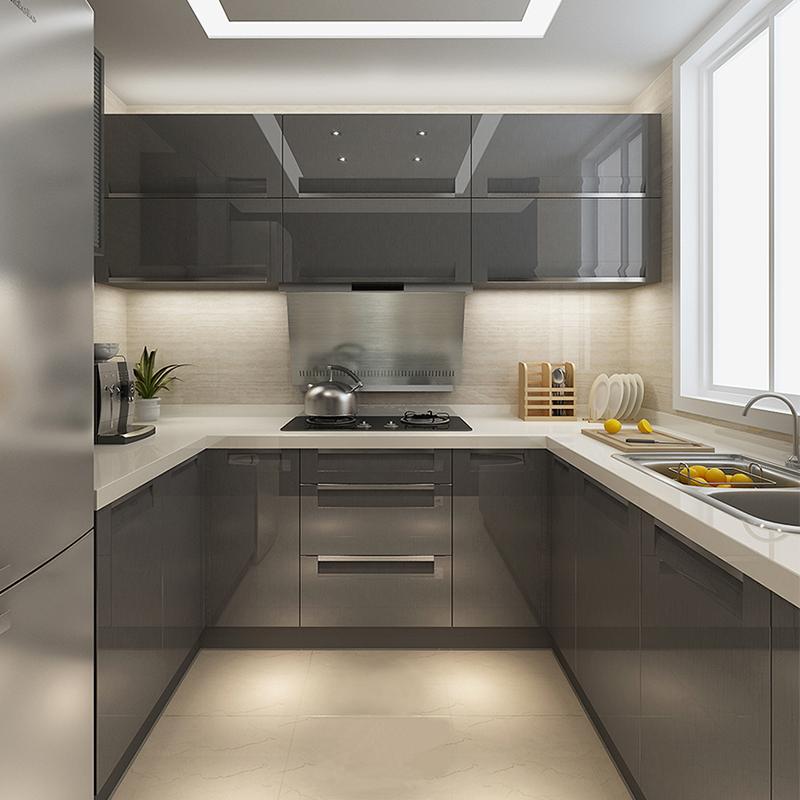 Guangzhou Desain Dapur Kecil Indonesia Kustom Lemari Dapur untuk Dapur Rumah