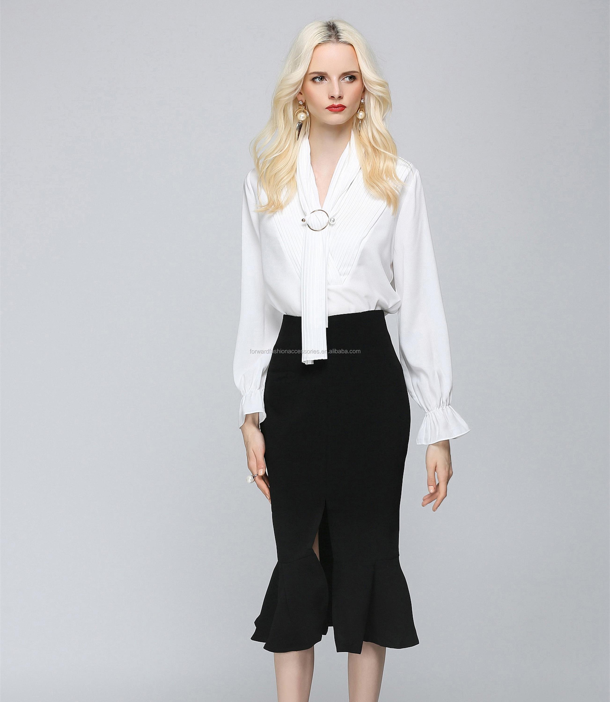 Pabrik Pakaian Sheer Blusas Femininas Polos Kantor Wanita Blouse Baju Fashion Terbaru Chiffon