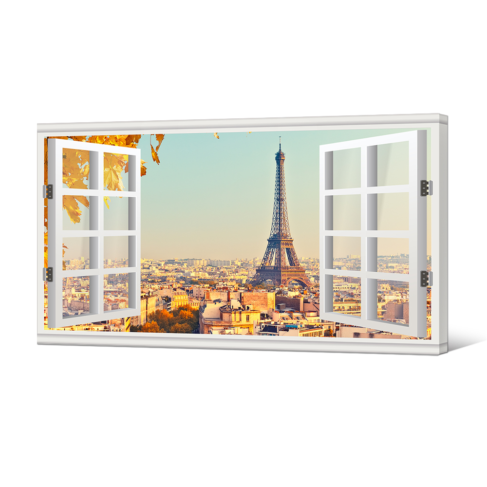 Wall Decor Canvas Prints Eiffel Tower in Autumn Creative Window View France Paris City View Painting Stretched Framed Art