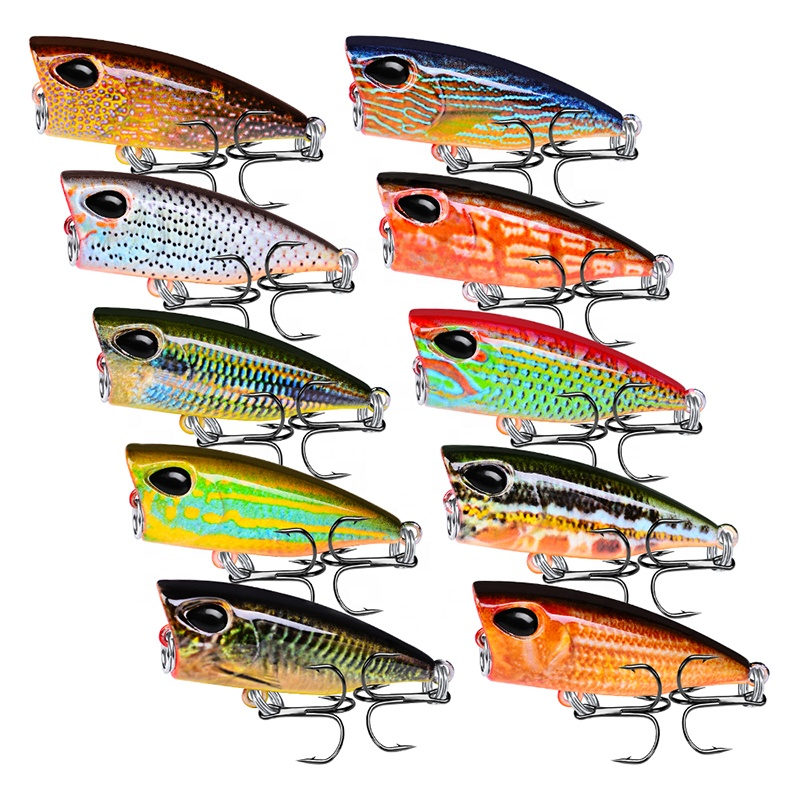 Topwater Mini Popper Fishing Lure 4.2cm 3.5g Plastic Hard Bass Baits Floating Artificial Wobblers, 10 colors