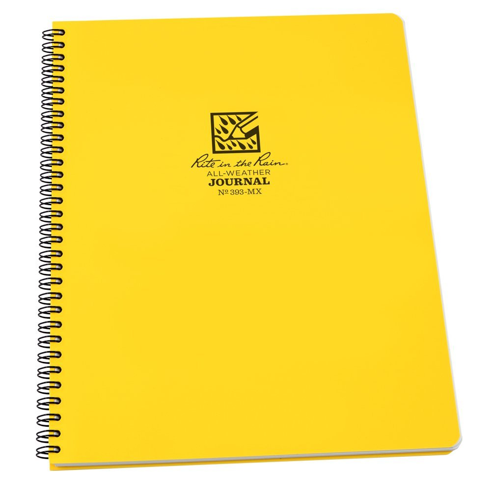 "Rite in the Rain All-Weather Side-Spiral Notebook, 8 1/2"" x 11"", Yellow Cover, Journal Pattern (393-MX)"