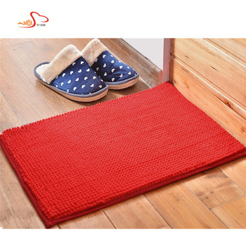 Custom Size Water Absorbent Shag Bath Mat Chenille Bathroom Rug