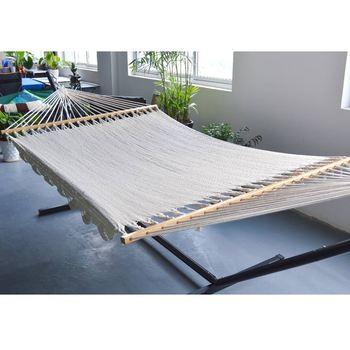 Double Wide 2 Person Spreader Bar Cotton Rope Net Hammock Indoor