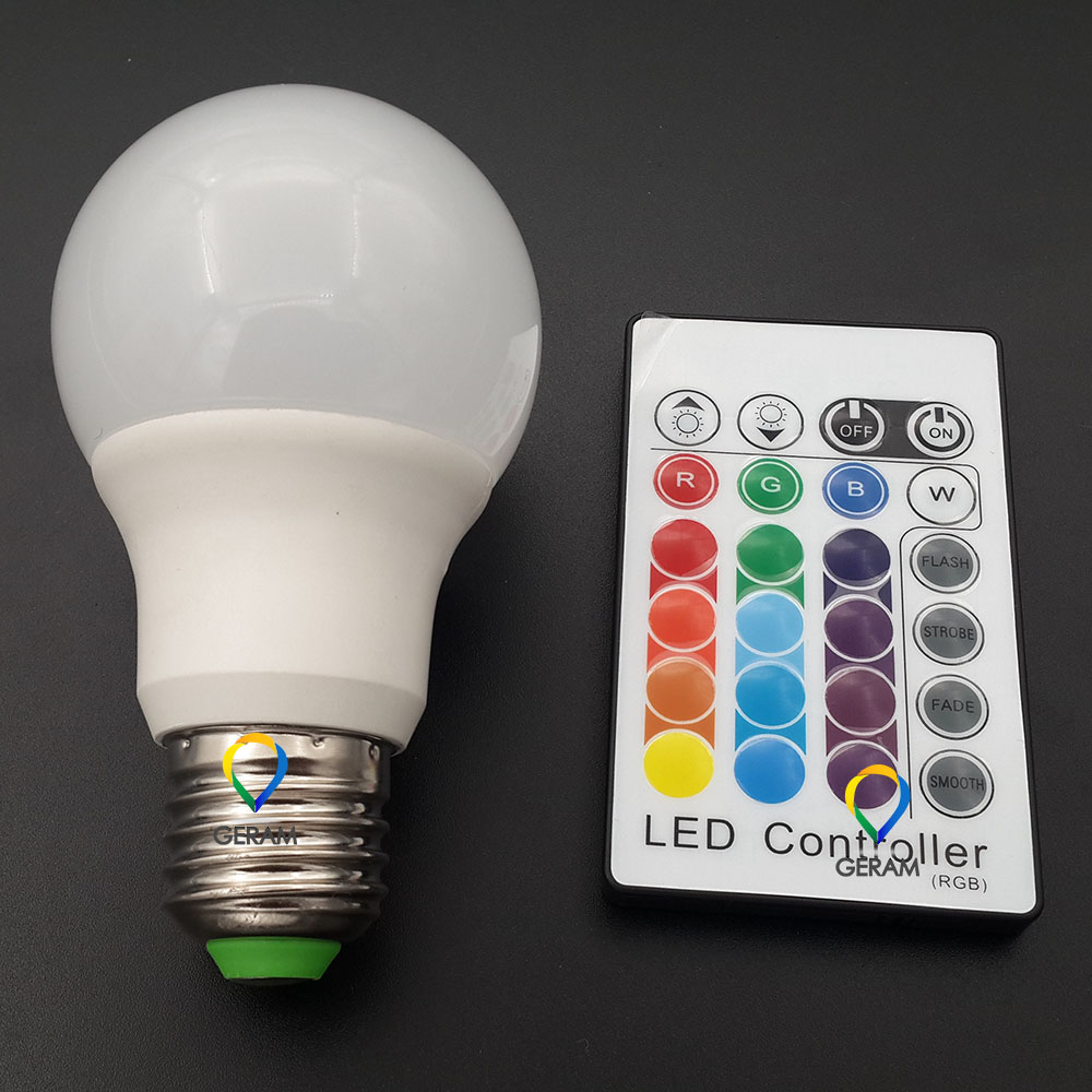 16 color remote control 3w 5w e27 e26 b22 led bulb rgb color bulb