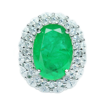 Emerald jewelry  925 sterling silver ring white gold with diamond rings