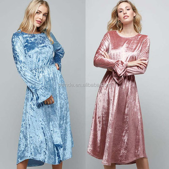 Custom S-3XL Lady Fashion Long Sleeve Ruffled Light Weight Crushed Velvet Midi Dress For Women