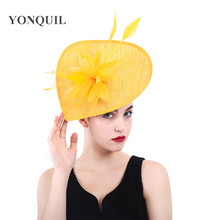 2385fa8f2a9 Yellow Fascinators Ladies Hats For Weddings Church feather Fedora Feather Pillbox  Hat With Vintage Derby Hats