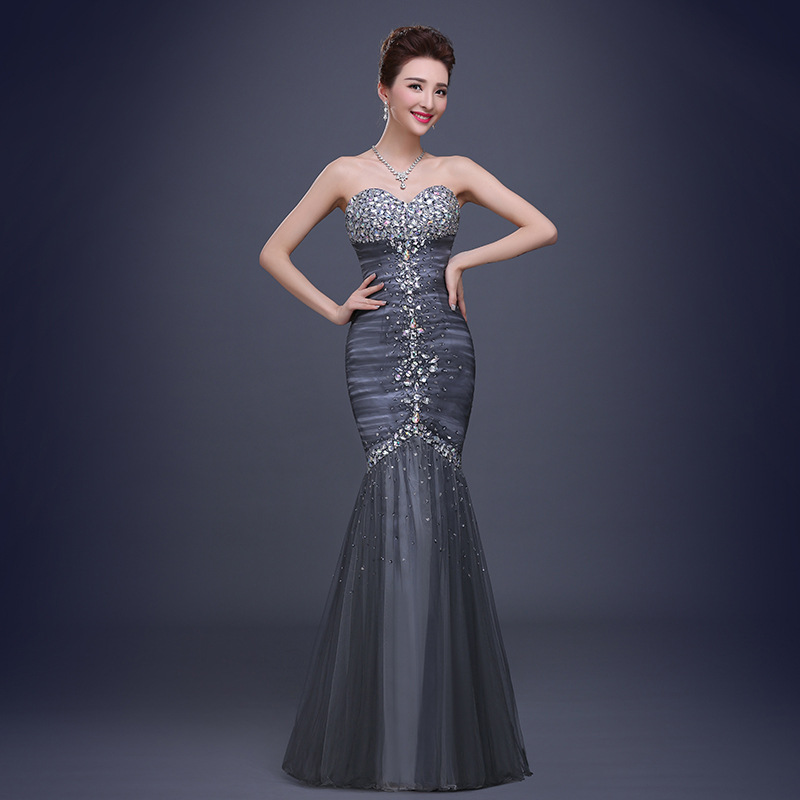 European Fashion Luxury Beaded Strapless Fish Tail Formal Evening Party Dress Mermaid New Long