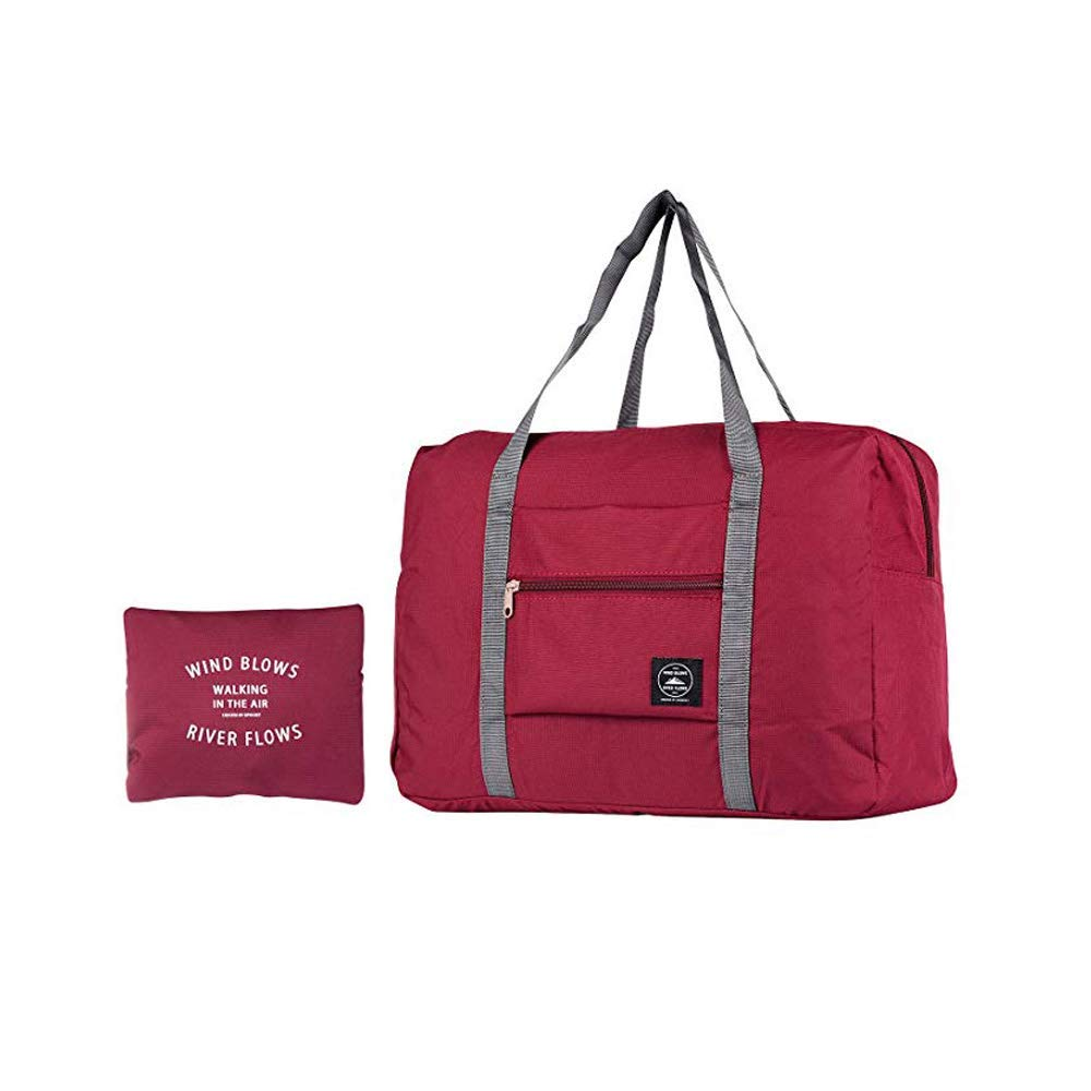 Pasiyou Travel Foldable Duffel Bag for Women & Men, Waterproof Lightweight travel Luggage bag for Sports, Gym, Vacation …(Red wine)