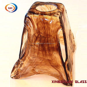 custom electronplating bulk flower christmas chandelier amber glass lamp shades