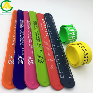 Wholesale Snap Silicone Sport Custom Slap Bracelet,Glow In Dark Reflective Pvc Ruler Led Slap Bracelet