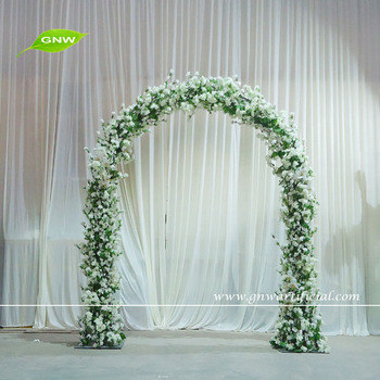Gnw 8ft White Metal Wedding Arch With Cherry Blossom Flowers For