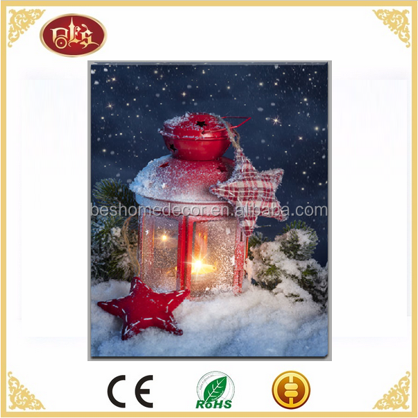 Christams wall art lantern canvas picture with LED light LED canvas painting