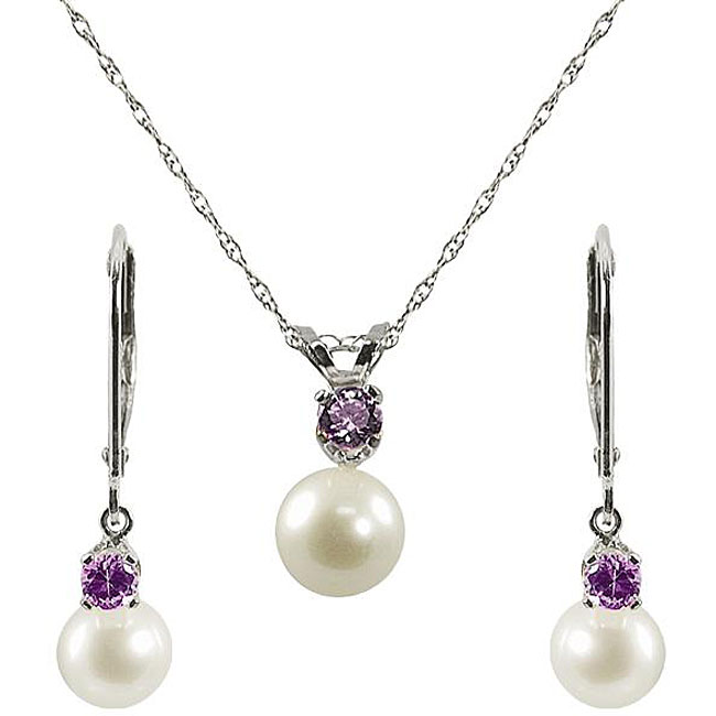 Fine 925 sterling silver amethyst and pearl jewelry set for girls