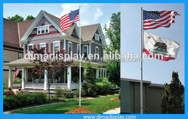 20Ft aluminum telescoping/sectional garden flagpole / US America flag set