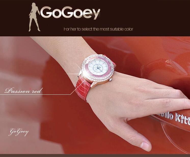 Gogoey 2015 новинка дамы кожа кристалл алмаза горный хрусталь часы женщины красоты платье кварцевые наручные часы часы Reloj Mujer