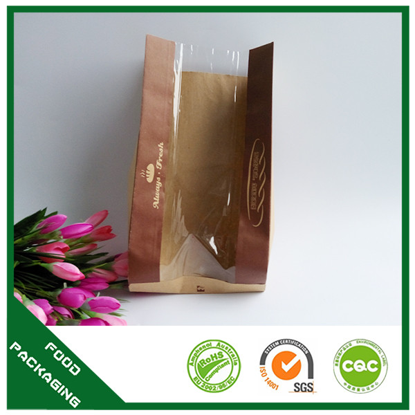 Food Industrial Use Clear Pvc Windows Take Away Bread Kraft Paper Bags