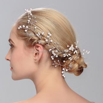 Handmade Pearl Bride Hair Chain Luxury White Wedding Head Bridal Accessory