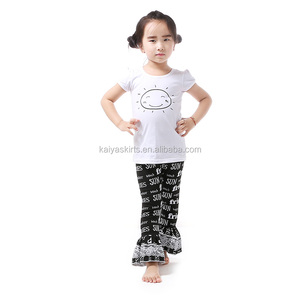 summer teen girl set wholesale baby girls clothing sets with ruffle