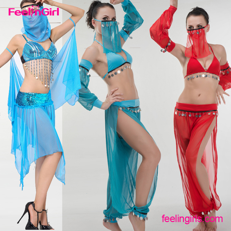 Sexy Chiffon Red Turkish Led Cheap Belly Dance Costume For Women