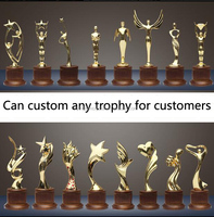 New design zinc alloy Oscar gold medal Crystal Trophy