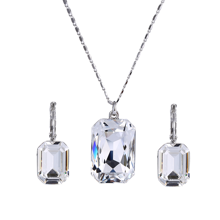 Set-45 Xuping crystals from Swarovski sterling silver color jewelry sets, one big stone luxury jewelry set фото