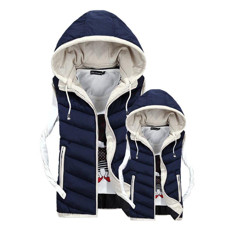 Lover Vest Men Winter Coat 2015 Plus Velvet Mens Vest Male Hooded Vests Men Women Cotton Padded Sleeveless Jacket Man Waistcoat