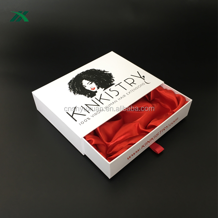 drawer style white wig box wholesale with fabric inside