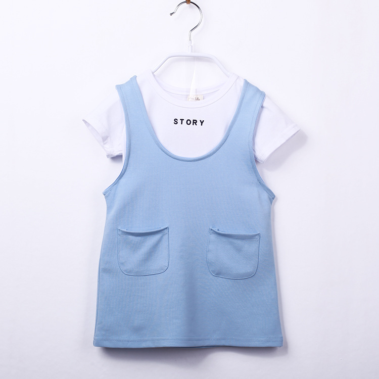 5b1e01c924a31 Get Quotations · 2015 Hot summer style girls clothing set white letter tops  + Blue dress set girls boutique