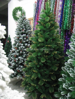 pet pvc pe mixed artificial pine needle christmas tree with golden glitter leaves