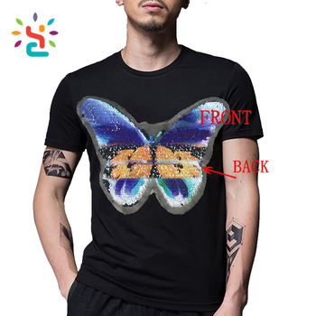 4fc244c74 Custom embroidery Butterfly sequins patch for T shirt Reversible Shiny Two  Way Sequins tee shirts