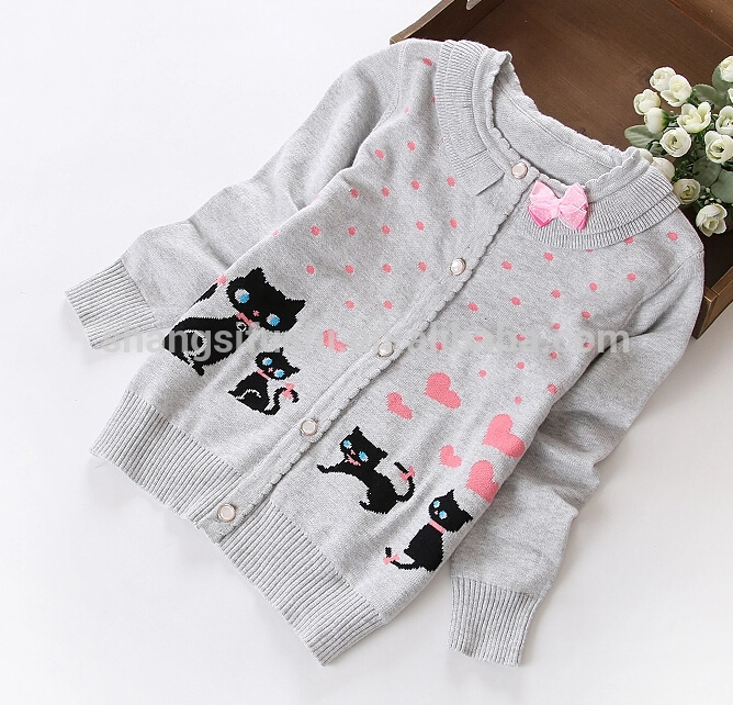 Girl cute cat dot heart printed crew neck button down long sleeve cardigan sweater