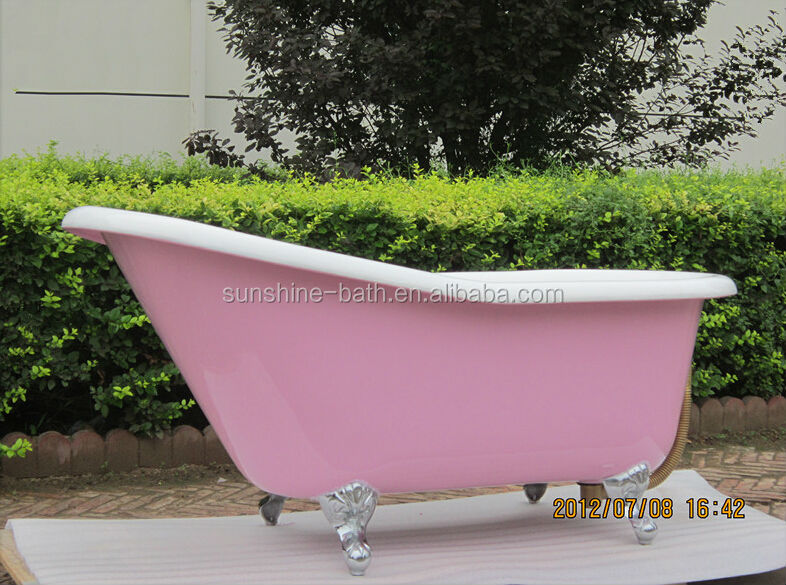 Hot Porcelain Red Tub , Claw Foot Baby Bath Tub