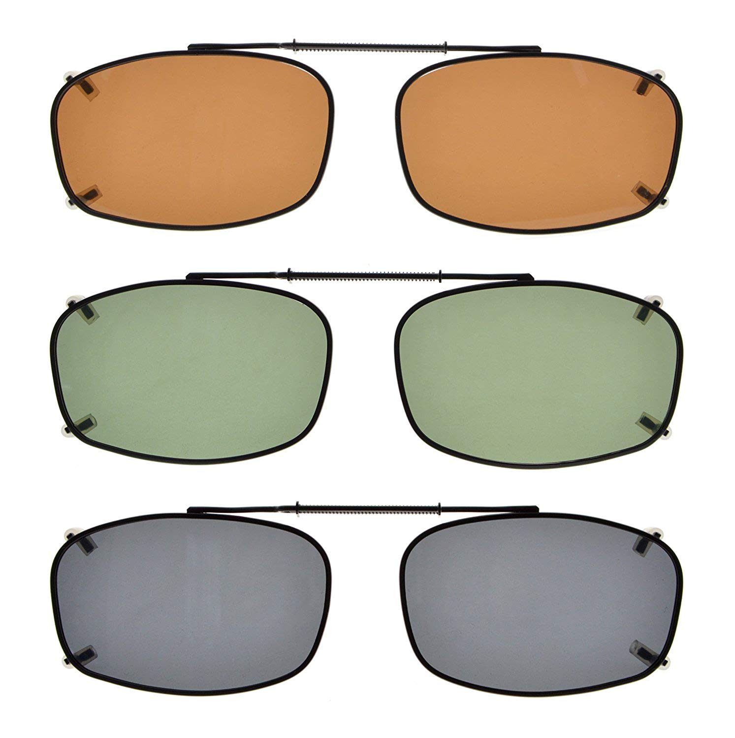 ca250f67f2 Get Quotations · Eyekepper Metal Frame Rim Polarized Lens Clip On Sunglasses  2 1 8