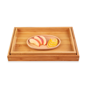 Bamboo Serving Tray Breakfast Serving Tray with Double Handles for Food