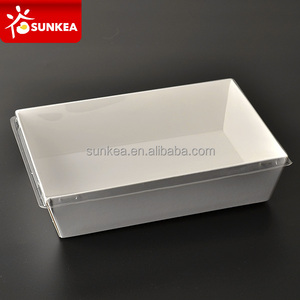 Disposable plastic lid take away sushi food paper tray