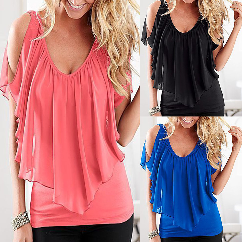 f06f953762d1 Fashion Women Sleeveless Irregular Chiffon Blouses Summer Style Off ...
