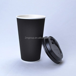 16oz black ripple wall triple wall paper coffee cup with lids