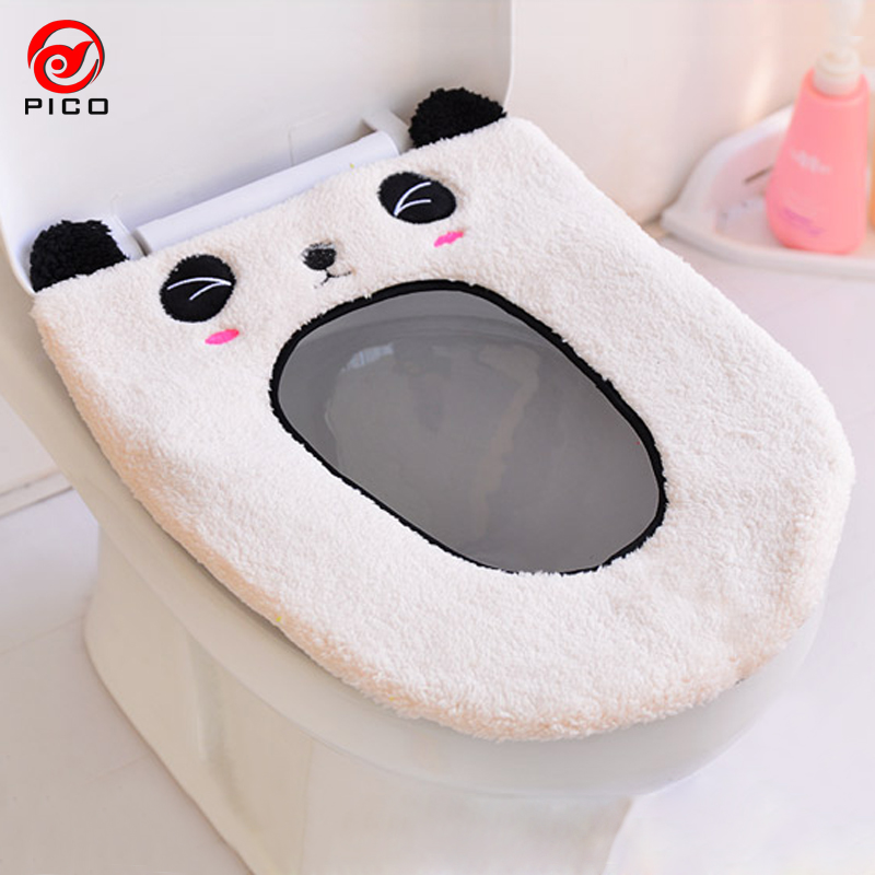 Leather Toilet Seat Cover Mat Winter Flocking Padded
