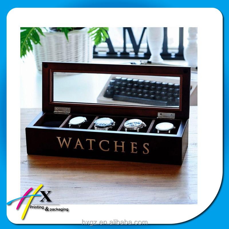 2016 customized luxury simple 5 pieces black wooden watch box with clear window