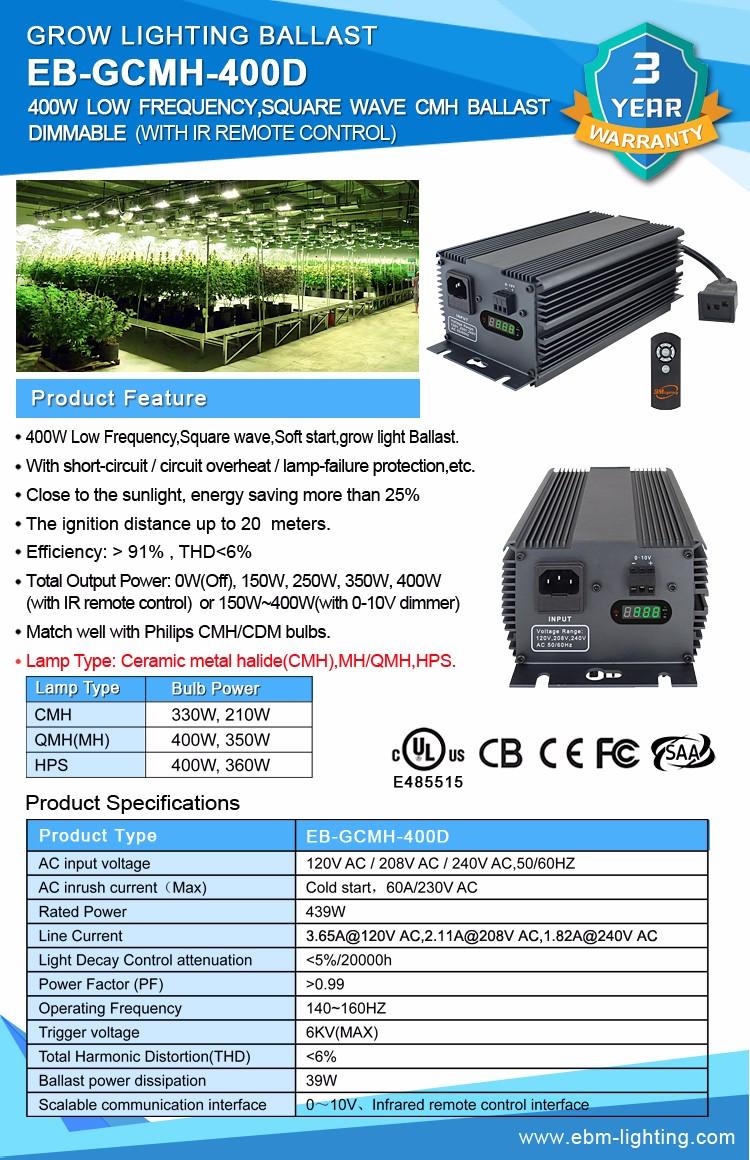 400 Watt Halogen-metalldampf Vorschaltgerät Für Hydrokultursysteme ...