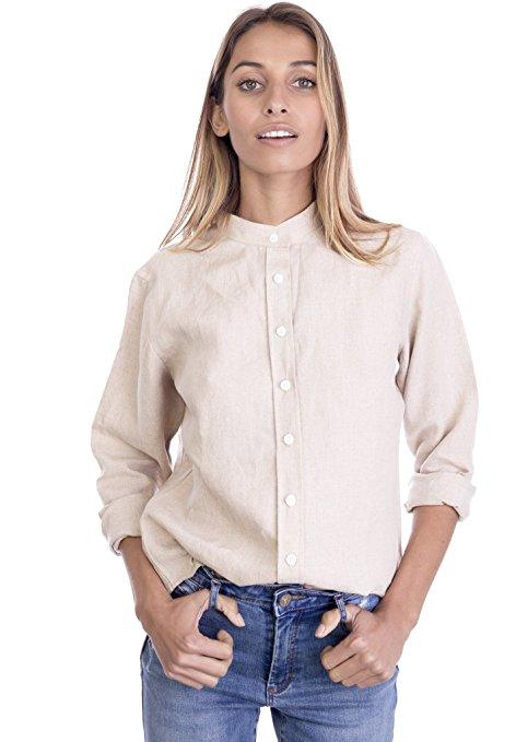 f5ff86bb90df company information. 2018 Summer Women Linen Cotton Button-down Mandarin  Collar Shirt ...
