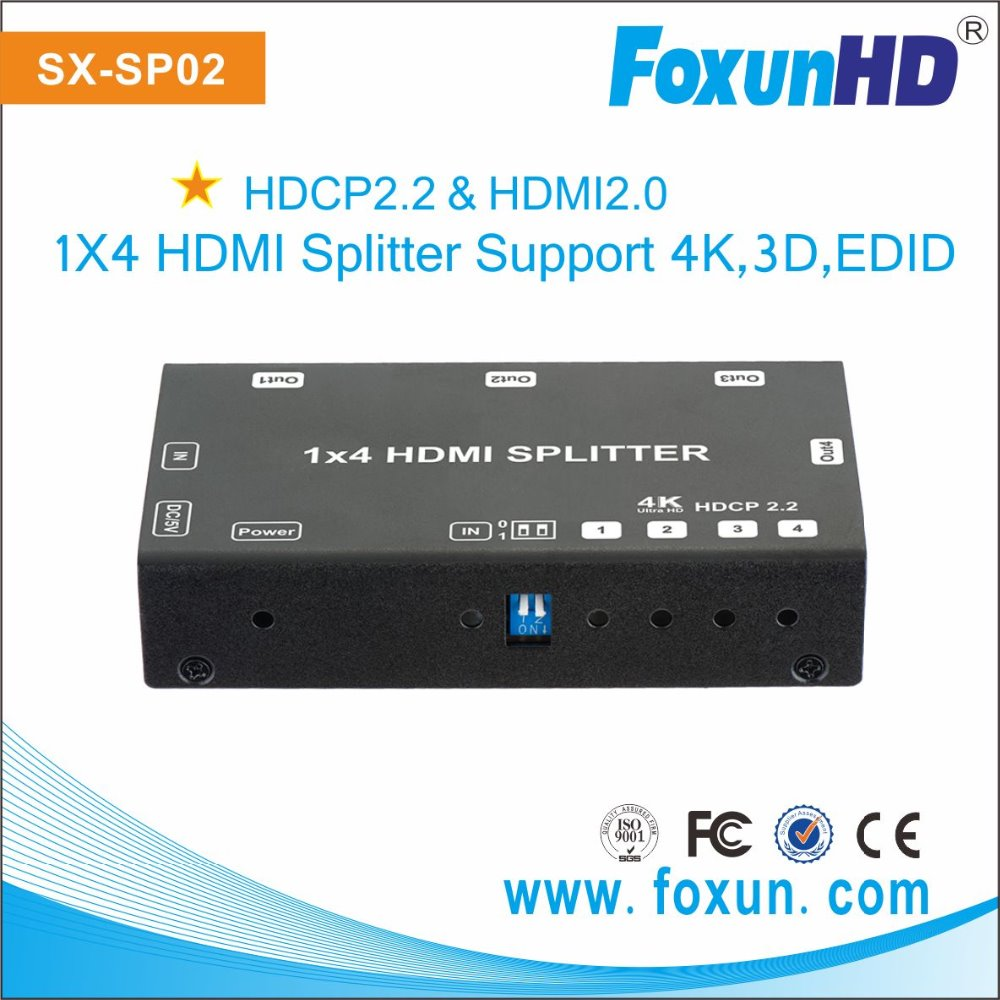 Ultra 4Kx2K@60Hz YUV 4:2:0 HDMI 4 way Splitter with HDCP 2.2 compliant, Support EDID
