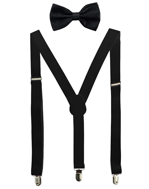 JTC Solid Color Kids Elastic Adjustable Suspenders Braces Rose