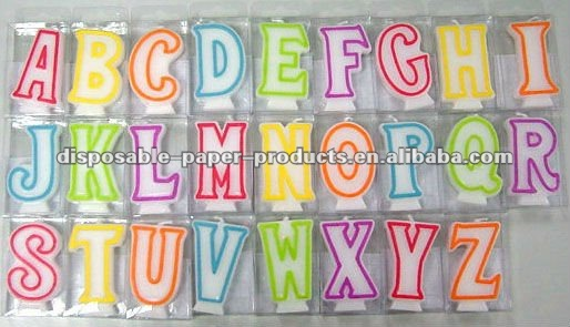 Wholesale Alphabet Cake Candles,Available In A B C D E F G y,26