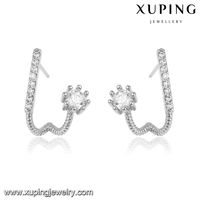 92475 xuping fashion high quality ltalian jewelry silver hanging diamond pin earrings