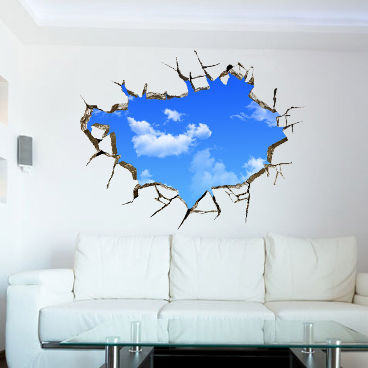 3D Broken Wall Sky Planet Wall Sticker For Kids Room Beautiful Map Stickers  Decor Living Rooms Part 96