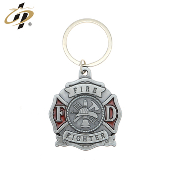 Shaunghua factory wholesale fire fighter souvenir metal keychain