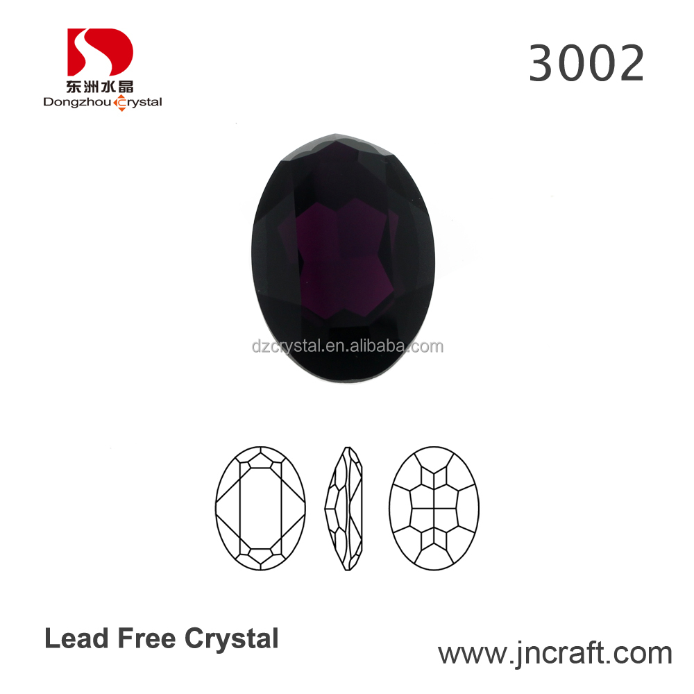 Loose Oval Facetted Cut Crystal Dark Purple Fancy Stone for jewelry