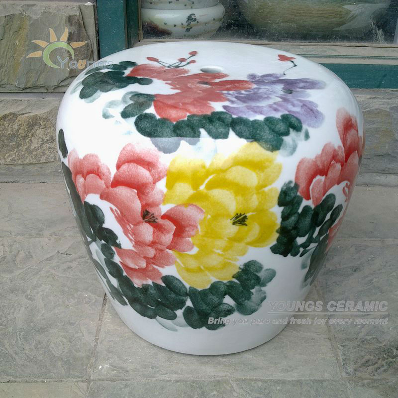 High Temperature Chinese Ceramic Le Shaped Garden Stool Seat